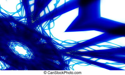 Kaleidoscopic blue and white looping animated background -...