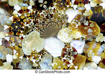 Micro photography of sand grains in polarized light, kaleidoscopic