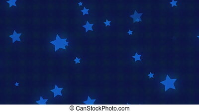Animation of blue stars over kaleidoscopic green and purple moving hypnotically in a seamless loop in the background. Colour, light and movement concept digitally generated image