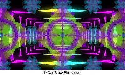 Kaleidoscopic shapes moving hypnotically on black background