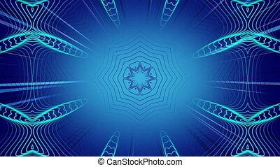 Kaleidoscopic shapes moving hypnotically on blue background
