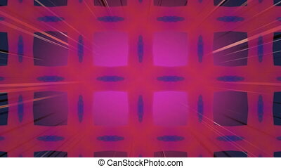 Animation of kaleidoscopic colourful red, blue and purple square shapes moving hypnotically in a seamless loop with strobing light beams. Colour, light and movement concept digitally generated image