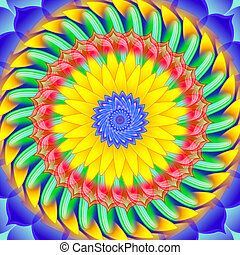 Kaleidoscopic spinning sacred circle mandala - Kaleidoscopic...