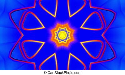 Kaleidoscopic VJ loop in blue red and yellow