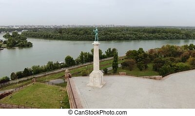 Kalemegdan Fortress and Winner Monument, Belgrade, Serbia. Aerial View of Danube and Sava Junction on Summer Day 4k