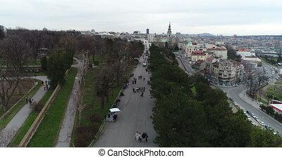 Kalemegdan park in Belgrade - Aerial view of Kalemegdan park...
