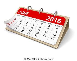 kalendář, -, červen, 2016