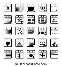 kalendář, ikona, dát, jednoduchý, móda