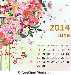 kalendář, jako, 2014, červen