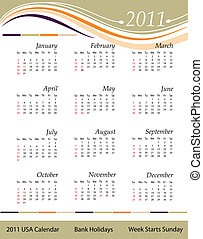 kalendarz, 2011, usa, -