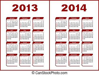 Kalendarz,  2013,  2014