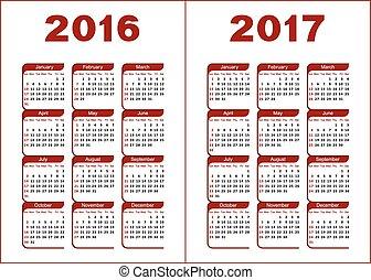 kalendarz, 2016, 2017