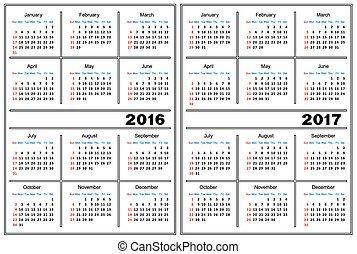 kalendarz, 2016, 2017, szablon