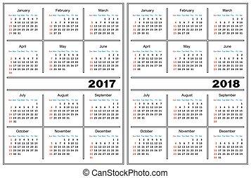 kalendarz, 2017, 2018, szablon