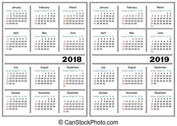 kalendarz, 2019, 2018, szablon