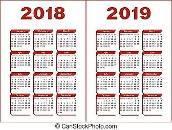 kalendarz, 2019, 2018