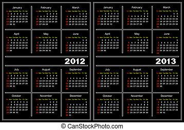 kalendarz, czarnoskóry, template.