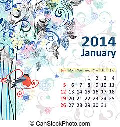 kalendarz, dla, 2014, styczeń