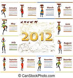 kalendarz, kobieta, afryka, 2012