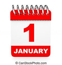kalendarz, na białym, tło., 1, january.