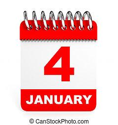 kalendarz, na białym, tło., 4, january.