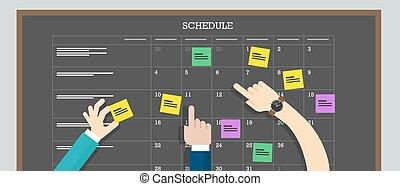 kalendarz, ręka, plan, deska, harmonogram