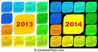 kalendarz, szablon, wielobarwny
