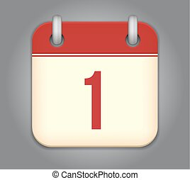 kalendarz, wektor, app, ikona