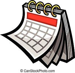 kalendarz, wektor, harmonogram, ikona