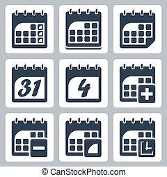 kalendarz, wektor, komplet, odizolowany, ikony