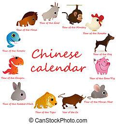 kalender, 12, dieren, chinees