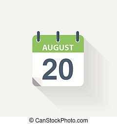 kalender, 20, augustus, pictogram