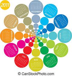 kalender, 2011, färgrik, cirkulär