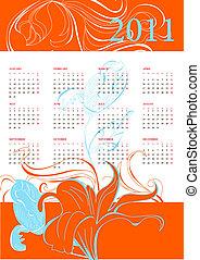 kalender, 2011, mit, blumen