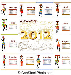kalender, 2012, med, afrika, kvinna