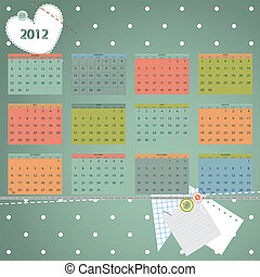 kalender, 2012, year., eerst dag, van, week, begin, op,...