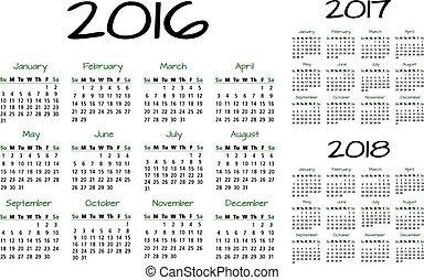 kalender, 2016-2017-2018, engelse