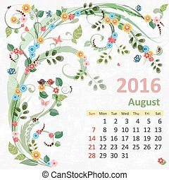 kalender, 2016, augustus