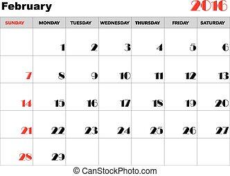 kalender, 2016, februari