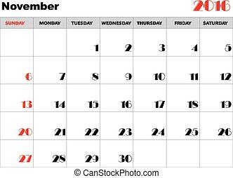 kalender, 2016, november