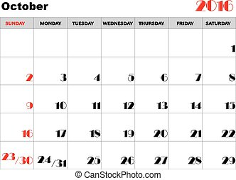 kalender, 2016, oktober