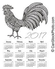 kalender, 2017, chinesisches neues jahr, mit, aufwendig, feurig, hahn