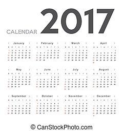 kalender, 2017., startar, söndag, vecka