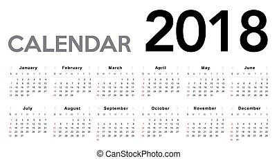 kalender, 2018., week, begin, van, zondag