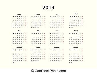 Kalender 2019 , 2020, 2021 Kalender einfache Vorlage,...