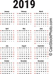 kalender, 2019