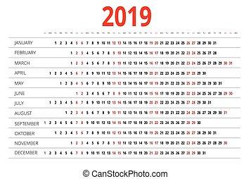 kalender, 2019.
