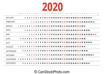 kalender 2020 woche einfache anf nge wei es. Black Bedroom Furniture Sets. Home Design Ideas