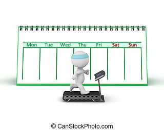 kalender, 3d, karakter, tredmolen