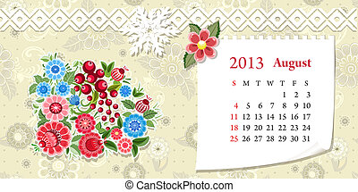 kalender, augustus, 2013